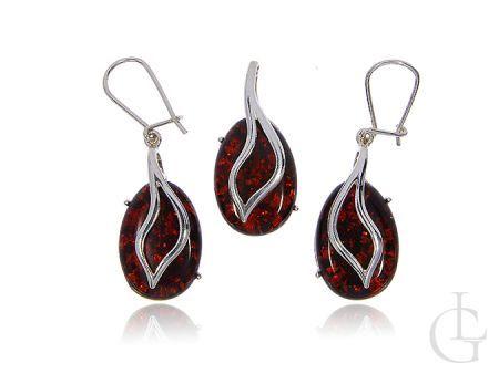 Komplet biżuterii z kamieniem w cudownym czerwonoczarnym kolorze