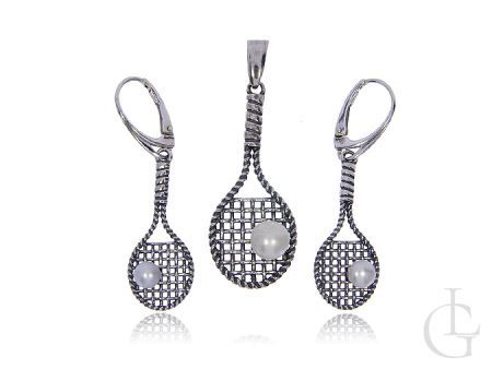 Komplet biżuterii ze srebra pr.0,925 rakiety tenisowe z perłami