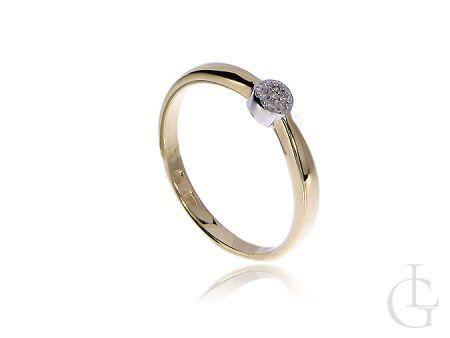 Złoty pierścionek pr.0,585 z diamentami na zaręczyny