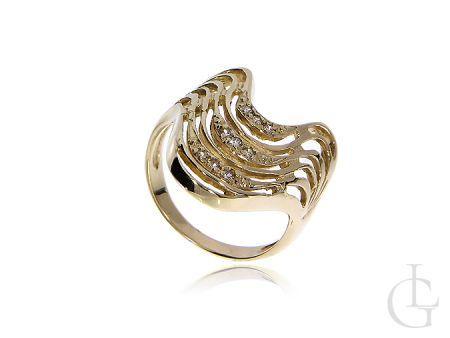 Złoty pierścionek szeroki ze złota pr.0,585 z cyrkoniami