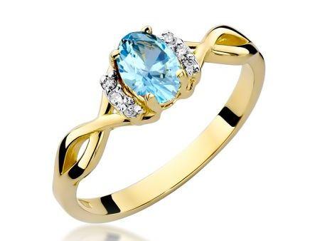 Złoty pierścionek pr.0,585 na zaręczyny z topazem naturalnym i brylantami