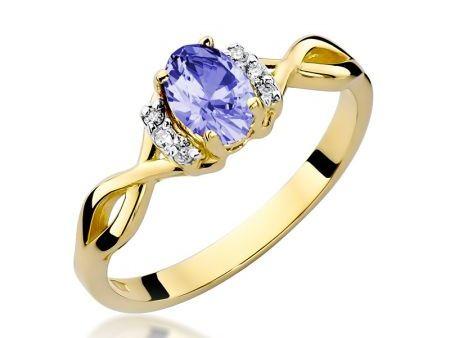Pierścionek złoty pr.0,585 na zaręczyny z tanzanitem i brylantami