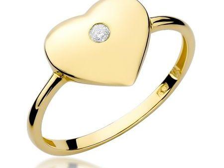 Pierścionek ze złota pr.0,585 z serduszkiem i brylantem