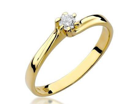 Klasyczny pierścionek ze złota 14 ct z brylantem