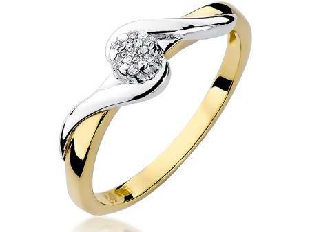 Pierścionek złoty pr.0,585 z białym złotem i brylantami