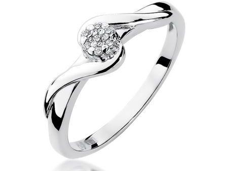 Klasyczny pierścionek z diamentami na zaręczyny z białego złota