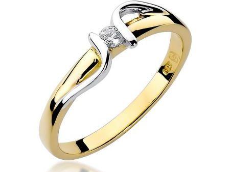 Pierścionek zaręczynowy ze złota 14 ct z diamentem