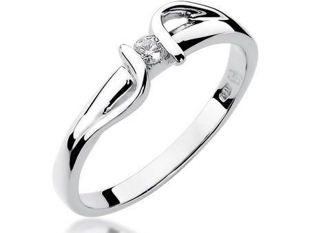 Pierścionek z białego złota na zaręczyny z brylantem