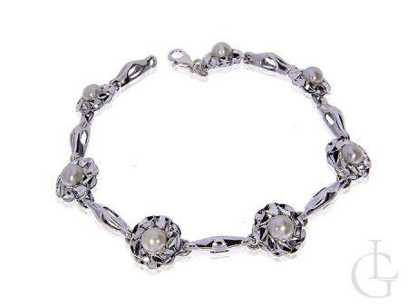 Bransoletka srebrna pr.0,925 z perełkami i diamentowanym wykończeniem