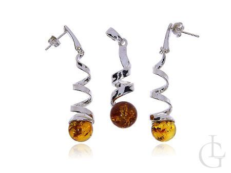Srebrna biżuteria damska komplet kolczyki sztyfty i zawieszka srebro pr.0,925