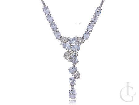 Biżuteria ślubna i wieczorowa srebro rodowane pr.0,925 kolia z cyrkoniami