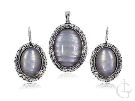 Komplet biżuterii damskiej z uleksitem srebro pr.0,925