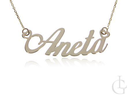 Aneta złota celebrytka r.0,585 łańcuszek z imieniem na prezent