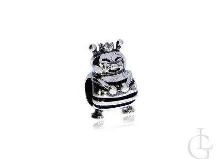 Przywieszka do bransoletki modułowej charms ze srebra rodowanego pr.0,925 pszczółka w koronie