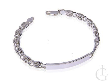 Bransoletka męska srebrna szeroka łańcuszkowa z blaszką o splocie ślimak