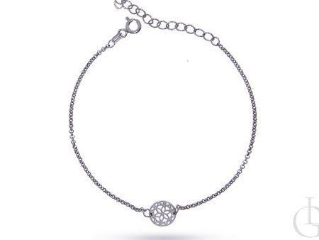 Bransoletka łańcuszkowa celebrytka z ążurowym kółeczkiem srebro rodowane pr.0,925