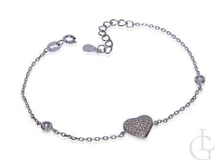 Bransoletka łańcuszkowa celebrytka ze srebra rodowanego pr.0,925 z serduszkiem