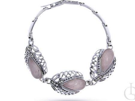 Bransoleta ze srebra pr.0,925 z kwarcem różowym