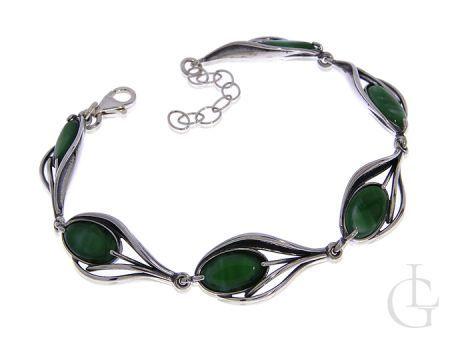 Ciekawa bransoleta damska ze srebra pr.0,925 z zielona masą perłową