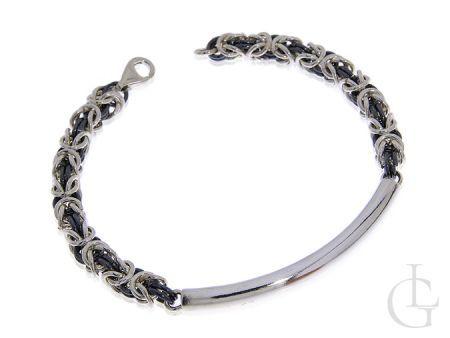 Bransoleta ze srebra pr.0,925 o splocie królewskim z czarnym rodem