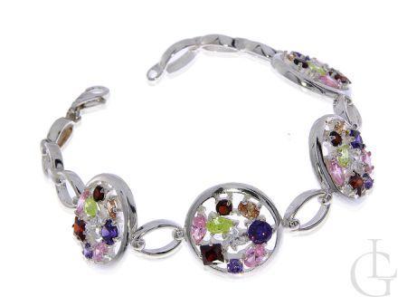 Przepiękna bransoleta ze srebra pr.0,925 z kolorowymi cyrkoniami w kolorze rubinu ametystu cytrynu kwarcu różowego