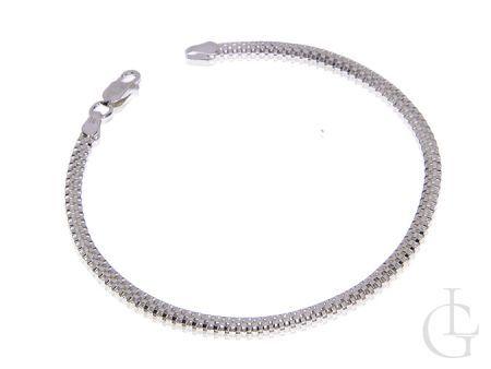 Bransoletka łańcuszkowa damska ze srebra pr.0,925 o splocie półokrągły BISMARK