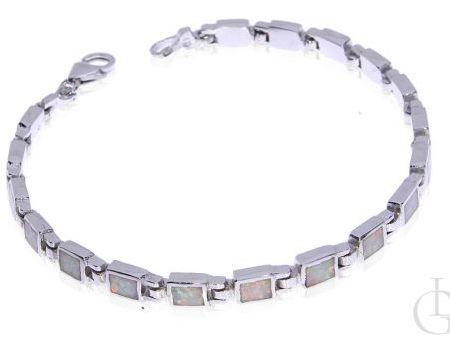 Delikatna bransoleta ze srebra rodowanegg pr.0, 925 z opalem tęczowym