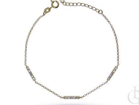 Bransoletka łańcuszkowa ze srebra pozłacanego pr.0,925 z cyrkoniami
