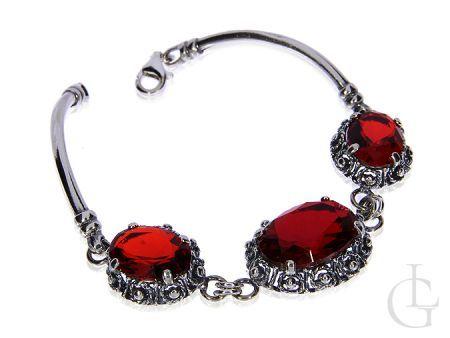 Bransoleta ze srebra pr.0,925 z dużymi rubinowymi cyrkoniami