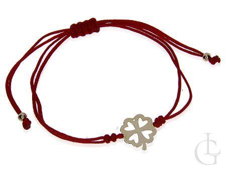 Bransoletka na czerwonym sznureczku ze złotą koniczynką pr.0585