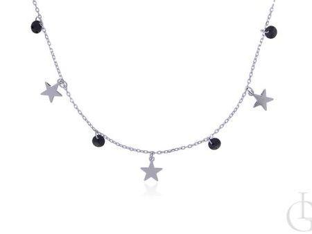 Celebrytka naszyjnik łańcuszek choker ze srebra rodowanego pr.0,925 z gwiazdkami