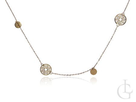 Celebrytka złota łańcuszek długi z kółkami grecki wzór