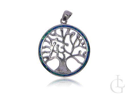 Drzewko szczęścia srebro rodowane pr.0,925 wisiorek z opalem błękitnym