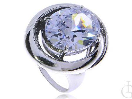 Okazały pierścionek srebro rodowane pr.0,925 z cyrkonią