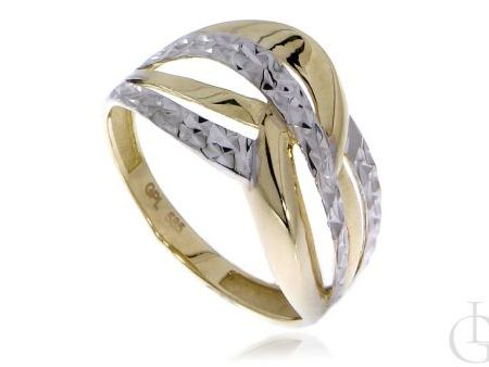 Pleciony pierścionek z żółtego i białego diamentowanego złota pr.0,585