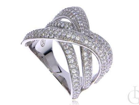 Szeroki pierścionek pleciony srebro rodowane pr.0,925 z cyrkoniami