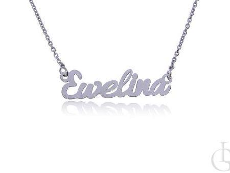 Ewelina srebrny łańcuszek celebrytka z imieniem naszyjnik imienny srebro rodowane pr.0,925