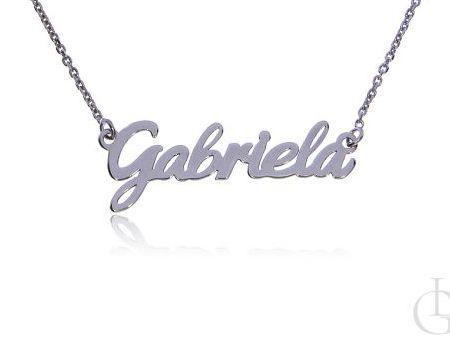 Gabriela srebrna celebrytka naszyjnik łańcuszek z imieniem srebro rodowane pr.0,925