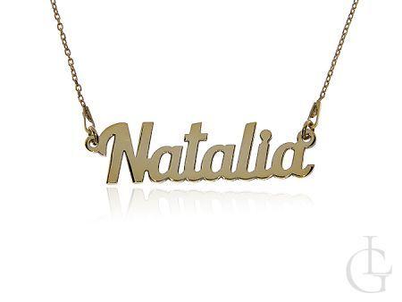 Natalia naszyjnik srebrny łańcuszek pr.0,925 pozłacany z imieniem