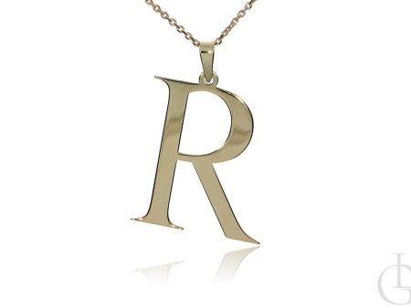 R jak Renata, Róża, Roma, Roksana, Regina naszyjnik łańcuszek celebrytka srebro pozłacane pr.0,925