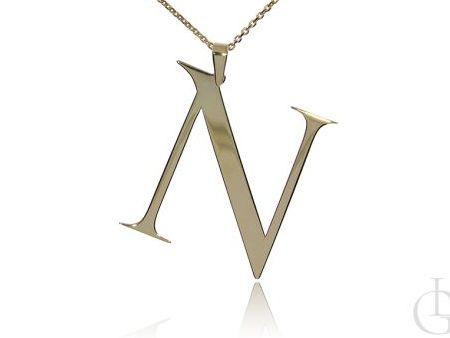 N jak Natalia, Nadia, Natasza, Nastazja  naszyjnik łańcuszek z literą srebro pozłacane pr.0,925