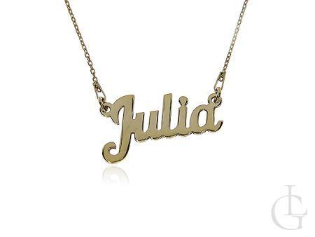 Julia naszyjnik celebrytka z imieniem ze srebra pozłacanego pr.0,925