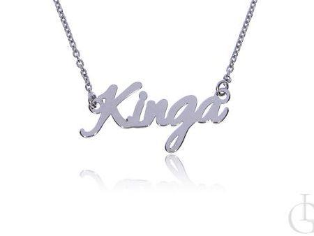 Kinga naszyjnik imienny, celebrytka łańcuszek z imieniem srebro pr.0,925