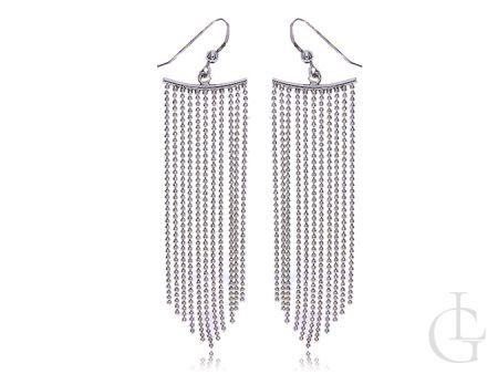 Długie kolczyki ze srebra rodowanego pr.0,925 lańcuszkowe otwarty bigiel