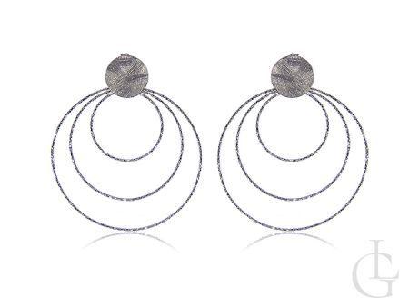 Kolczyki wiszące srebro rodowane pr.0,925 duże koła diamentowane