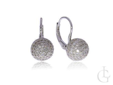 Kolczyki wiszące srebro rodowane kulki z cyrkoniami