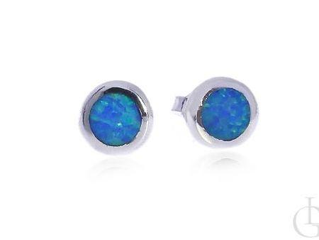 Kolczyki srebrne z opalem błękitnym zapięcie sztyft