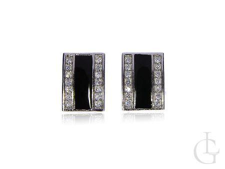 Kolczyki prostokąty srebro rodowane pr.0,925 czarne i klasyczne cyrkonie