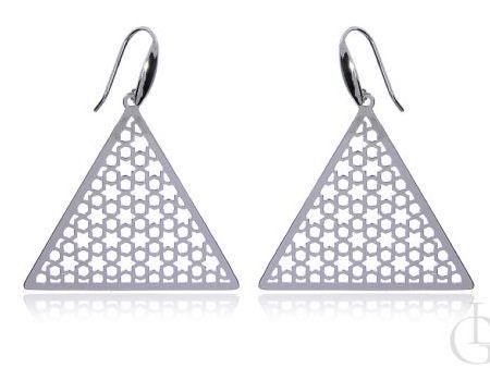 Kolczyki srebro rodowane pr.0,925 trójkąty ażurowe