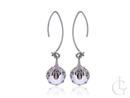 Wiszące kolczyki ze srebra pr.0,925 z klasycznymi kryształami Swarovskiego